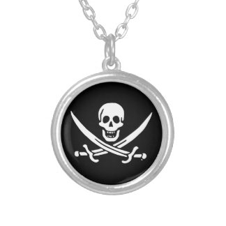 Jolly roger pirate flag silver plated necklace