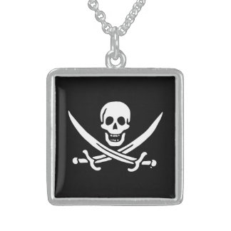 Jolly roger pirate flag square pendant necklace