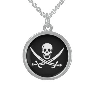 Jolly roger pirate flag sterling silver necklace
