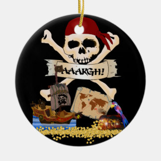 Jolly Roger, Pirate Ship & Pirate's Chest Round Ceramic Decoration