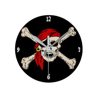 Jolly Roger Pirate Skull Bones Red Bandanna Round Clock