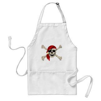 Jolly Roger Pirate Skull Bones Red Bandanna Standard Apron