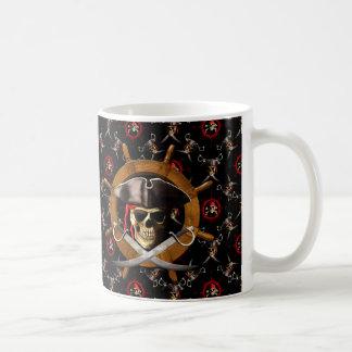 Jolly Roger Pirate Wheel Basic White Mug