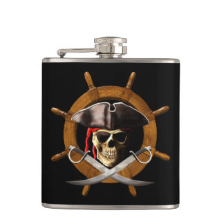 Jolly Roger Pirate Wheel Hip Flask