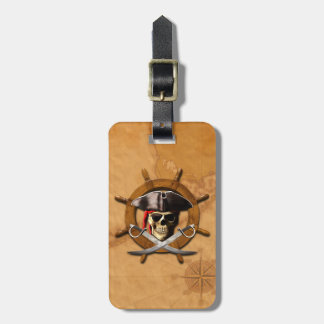 Jolly Roger Pirate Wheel Luggage Tag