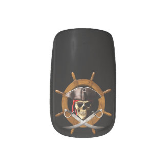 Jolly Roger Pirate Wheel Minx Nail Art