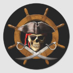 Jolly Roger Pirate Wheel Round Stickers