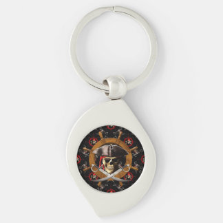 Jolly Roger Pirate Wheel Silver-Colored Swirl Key Ring