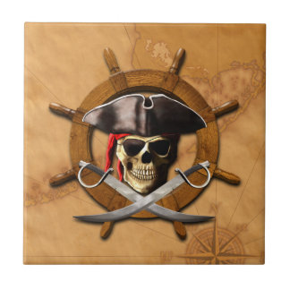 Jolly Roger Pirate Wheel Tile