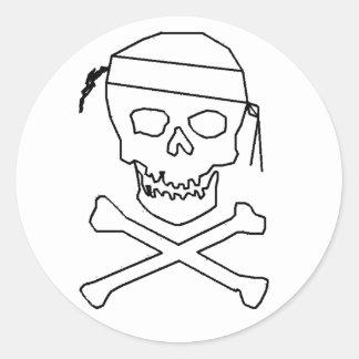 Jolly Roger Round Black on Transparent Sticker