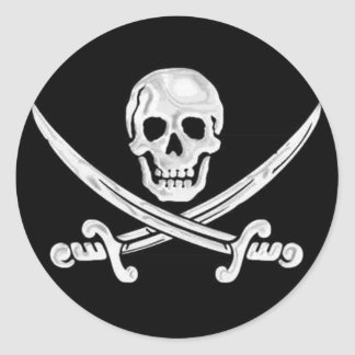 Jolly Roger Skull Classic Round Sticker