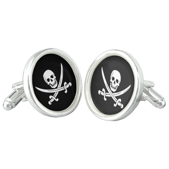 Jolly Roger Swords Pirate Cuff Links