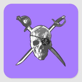Jolly Roger Swords Square Sticker