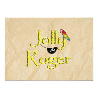 Jolly Roger Text Design w/Parrot & Eye Patch Custom Invitation