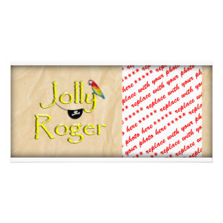 Jolly Roger Text Design w/Parrot & Eye Patch Picture Card
