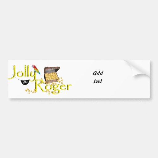 Jolly Roger Text w/Pirate's Treasure Chest Bumper Sticker