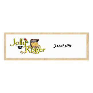 Jolly Roger Text w/Pirate's Treasure Chest Double-Sided Mini Business Cards (Pack Of 20)