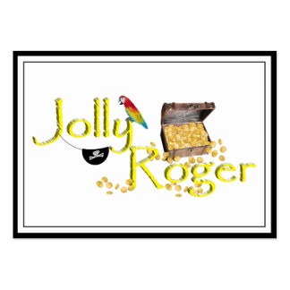 Jolly Roger Text w/Pirate's Treasure Chest Large Business Cards (Pack Of 100)