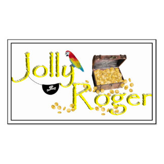 Jolly Roger Text w/Pirate's Treasure Chest Business Cards