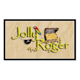Jolly Roger Text w/Pirate's Treasure Chest Double-Sided Standard Business Cards (Pack Of 100)