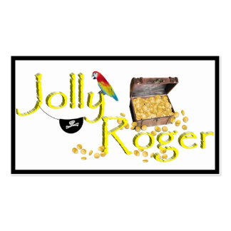 Jolly Roger Text w/Pirate's Treasure Chest Pack Of Standard Business Cards