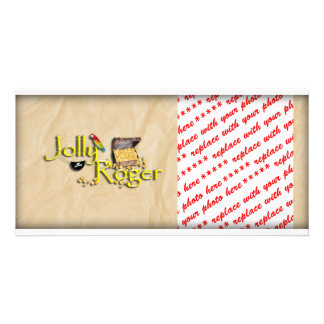 Jolly Roger Text w/Pirate's Treasure Chest Custom Photo Card