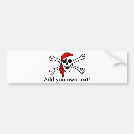 Jolly roger with red bandana bumper sticker