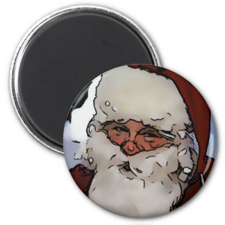 Jolly Santa 6 Cm Round Magnet
