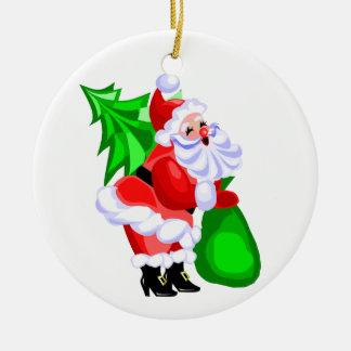 Jolly Santa and Christmas Tree Round Ceramic Decoration