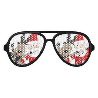Jolly Santa and Reindeer #1 Aviator Sunglasses