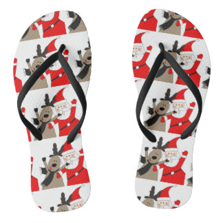 Jolly Santa and Reindeer #1 Flip Flops
