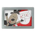 Jolly Santa and Reindeer Belt Buckle