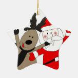 Jolly Santa and Reindeer Christmas Ornament