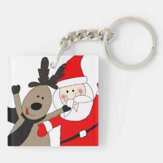 Jolly Santa and Reindeer Key Chains