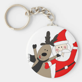 Jolly Santa and Reindeer Keychain