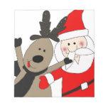 Jolly Santa and Reindeer Memo Note Pad