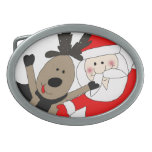 Jolly Santa and Reindeer Oval Belt Buckles
