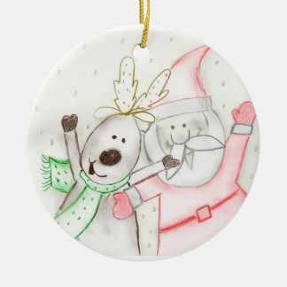 JOLLY SANTA AND REINDEER ROUND CERAMIC DECORATION