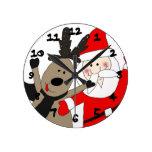 Jolly Santa and Reindeer Round Wall Clock