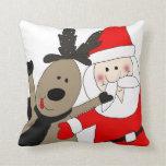 Jolly Santa and Reindeer Throw Pillows