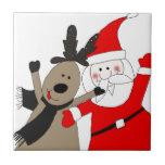 Jolly Santa and Reindeer Tile