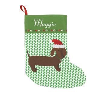 Jolly Santa Brown Dachshund Personalised Small Christmas Stocking