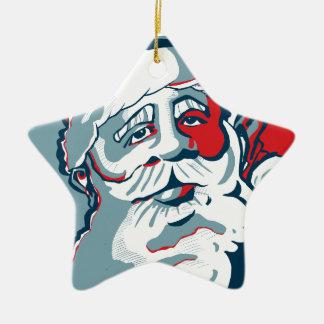 Jolly Santa Ceramic Star Decoration