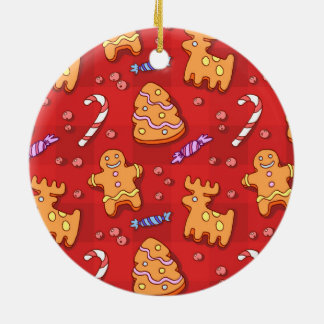 Jolly Santa Claus and Gingerbread Cookies Round Ceramic Decoration