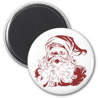 Jolly Santa Claus in Red Fun Retro Merry Christmas 6 Cm Round Magnet