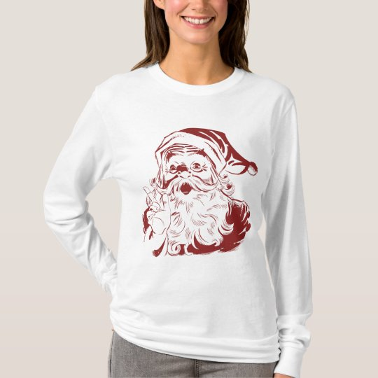 Jolly Santa Claus in Red Fun Retro Merry Christmas T-Shirt