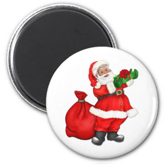 Jolly Santa Claus 6 Cm Round Magnet