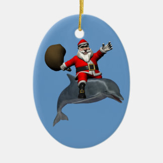 Jolly Santa Claus Riding On Dolphin Ceramic Oval Decoration