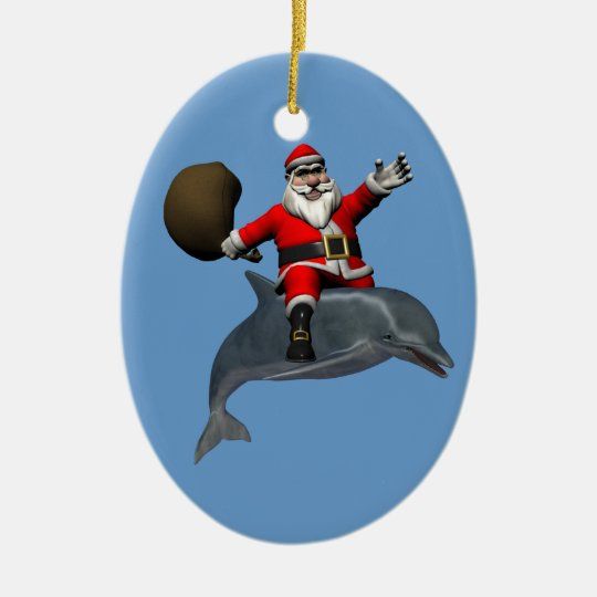 Jolly Santa Claus Riding On Dolphin Christmas Ornament