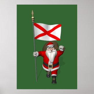Jolly Santa Claus Visiting Alabama Poster